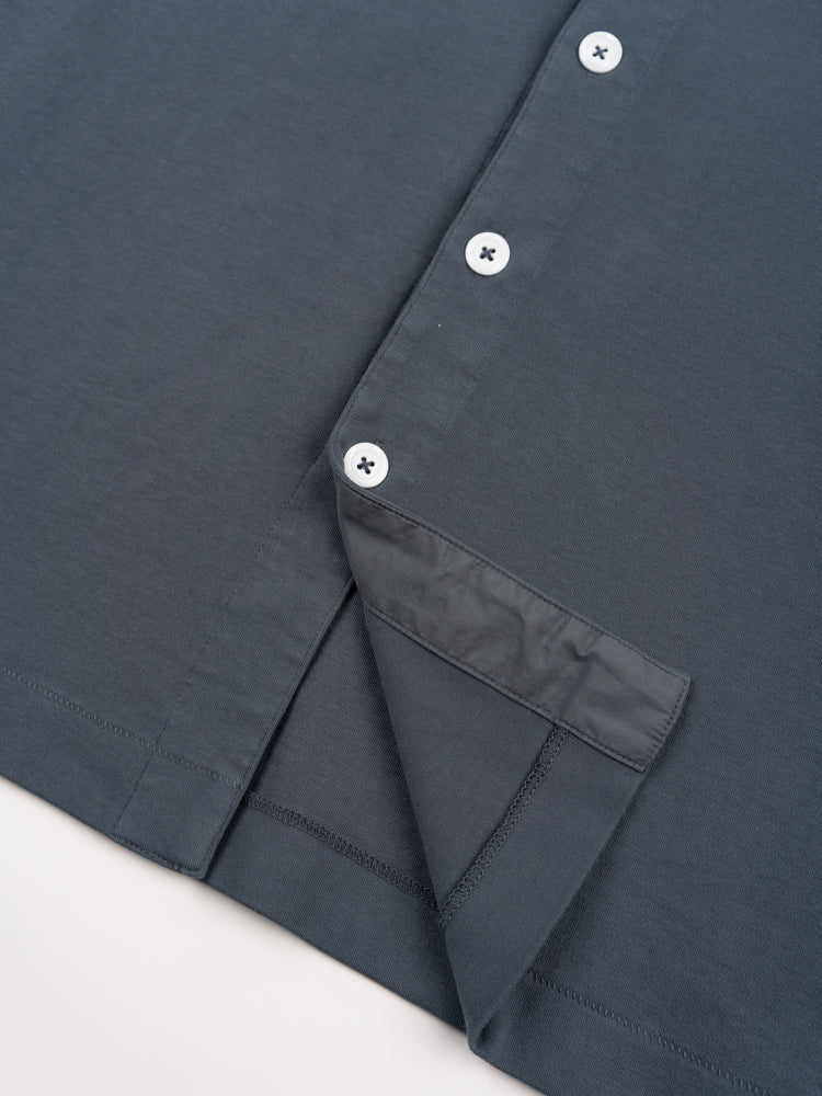 s/s placket polo, night grey, lady white co, hem