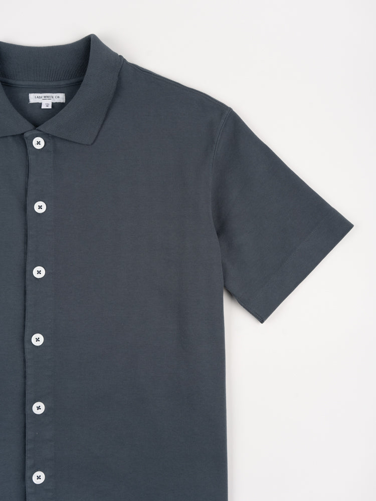s/s placket polo, night grey, lady white co, short sleeve