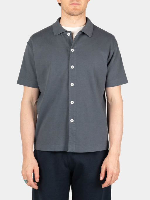 S/S Placket Polo Night Grey