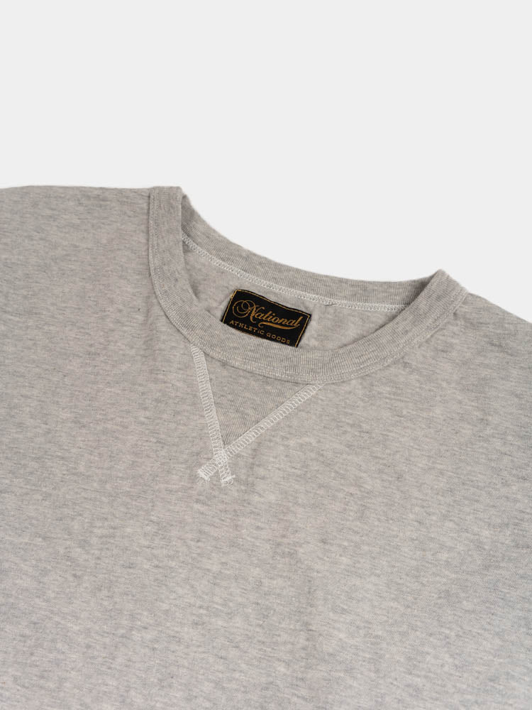 longsleeve gym tee, ash grey, national athletic goods, collar detail