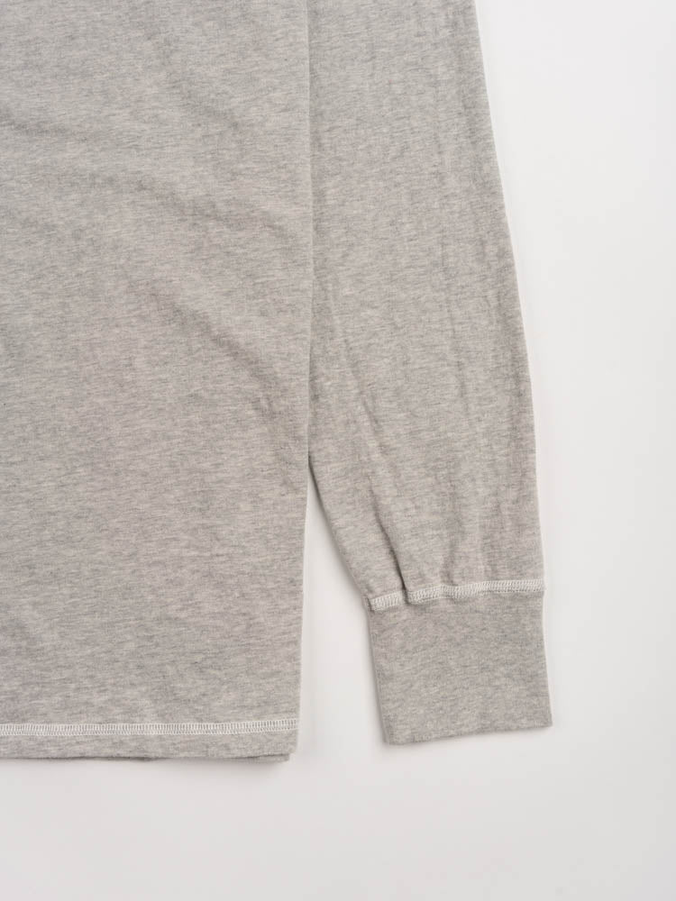 longsleeve gym tee, ash grey, national athletic goods, cuff and hem