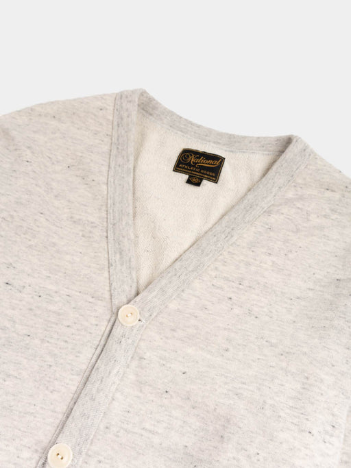 varsity cardigan, oat grey, national athletic goods, v-neck