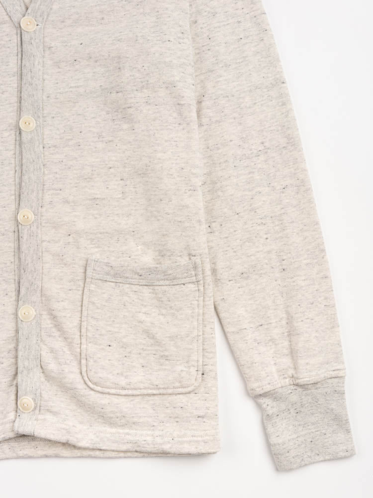 varsity cardigan, oat grey, national athletic goods, front patch pocket