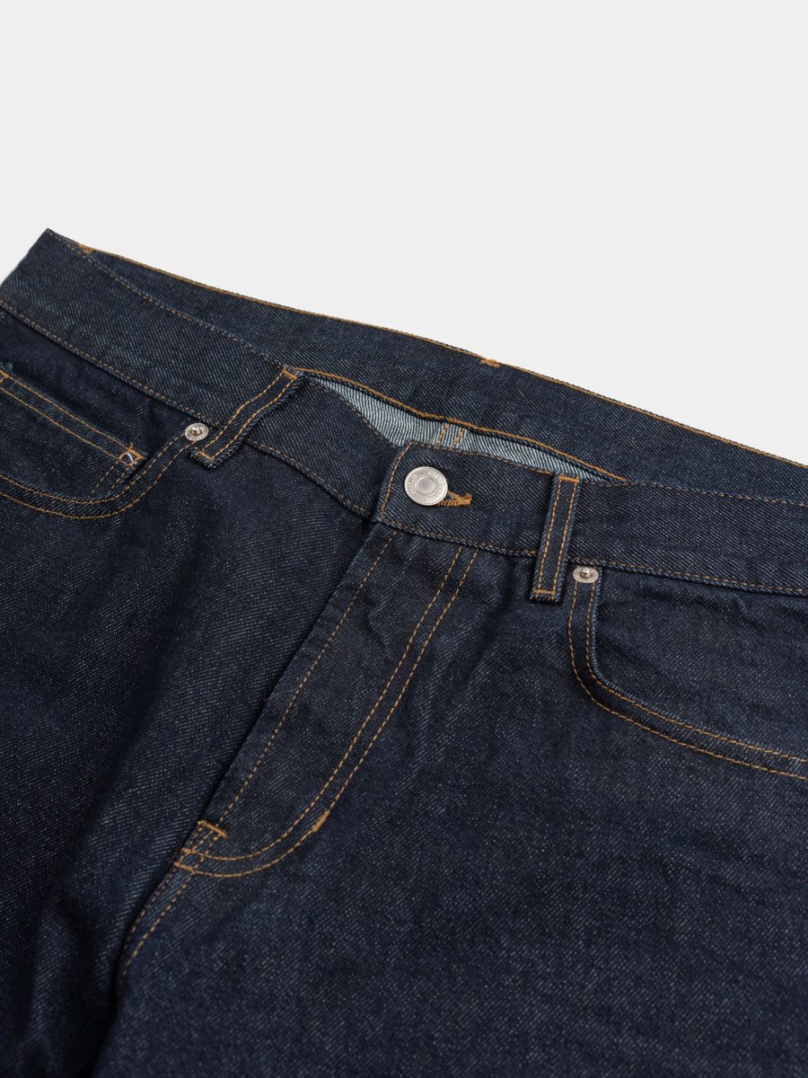 norse slim denim, indigo, waist and button detail, norse projects