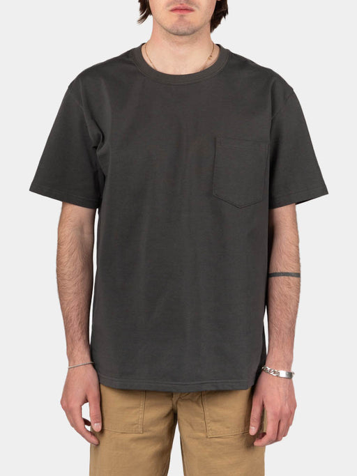 pocket t-shirt, charcoal grey, orslow, on model front view