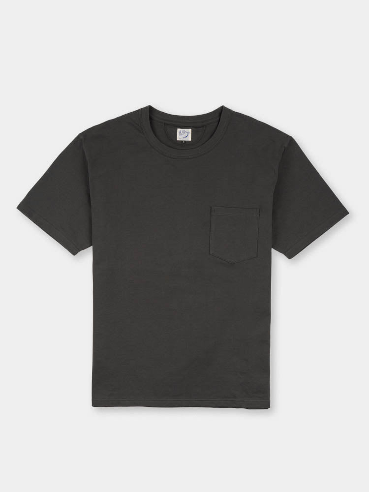 pocket t-shirt, charcoal grey, orslow