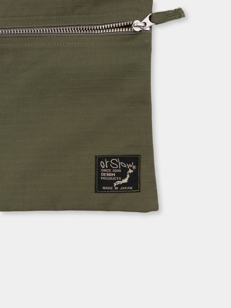 sacoche bag, army green, orslow, branded tag