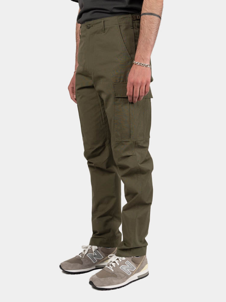 slim fit, 6 pocket cargo pants, original ripstop, army green, orslow, on model side view