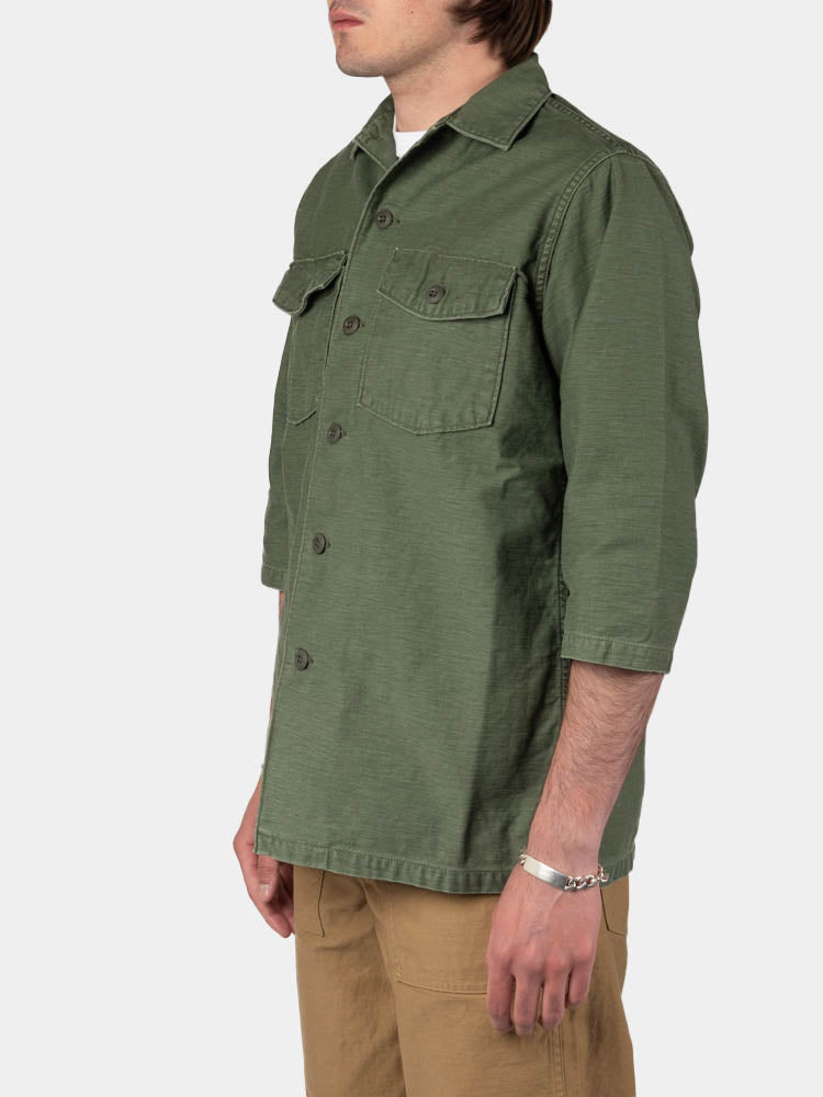 us army jacket, three quarter sleeve, green used, orslow, on model side view