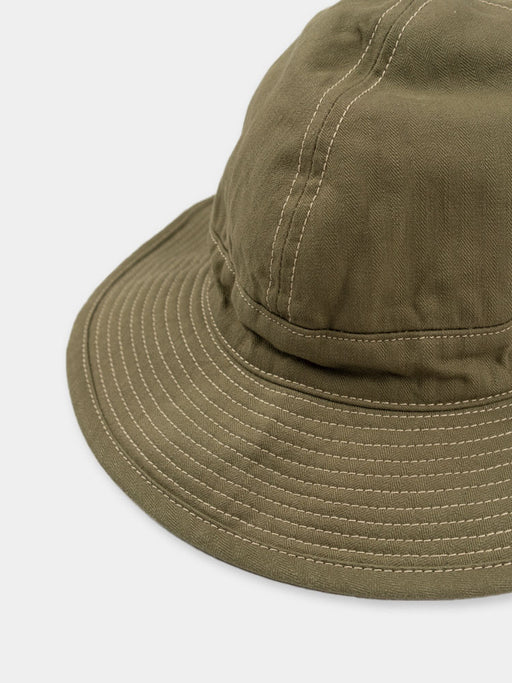 us navy hat, green, orslow, stitch brim detail