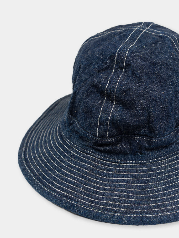 us navy hat, one wash denim, orslow, contrast stitch brim