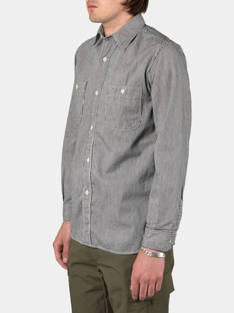 work shirt, hickory stripe, orslow, on model side view