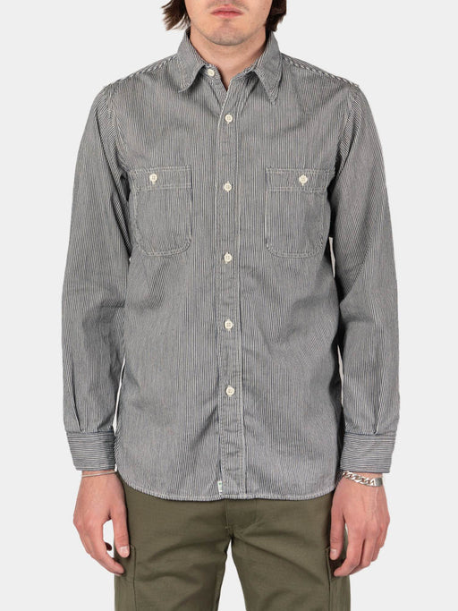 work shirt, hickory stripe, orslow, on model front view