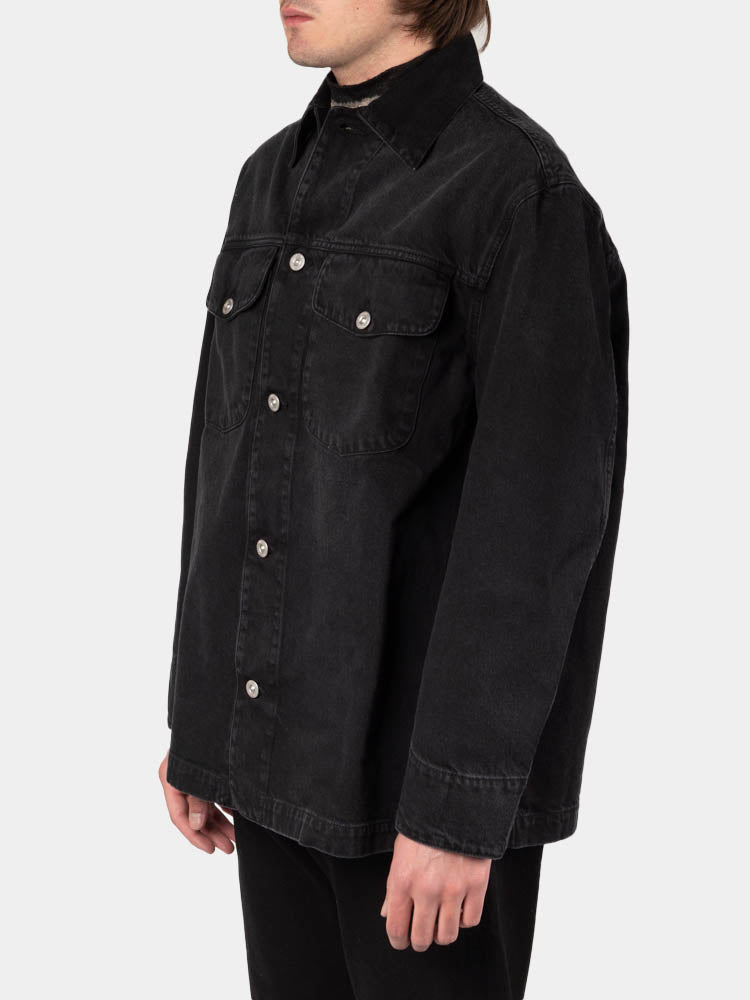 new work jacket, coal cotton, our legacy, on model side view