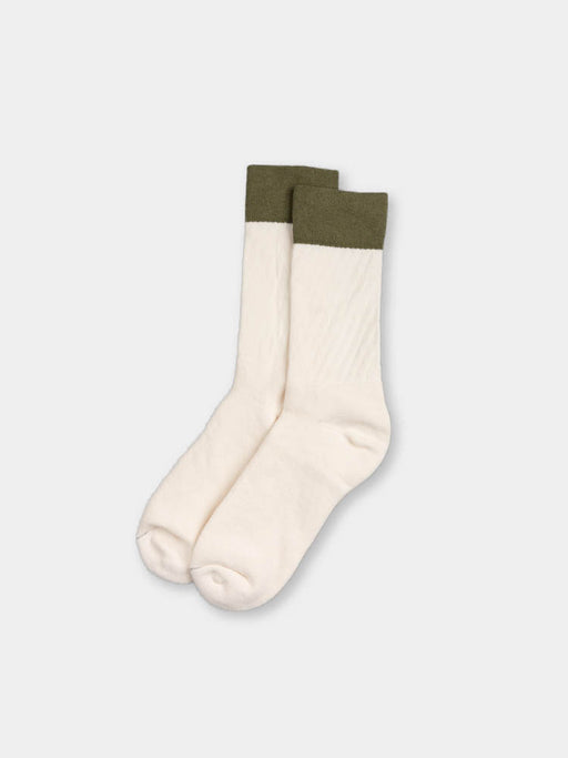 crew socks 2.5, ecru and olive, paa