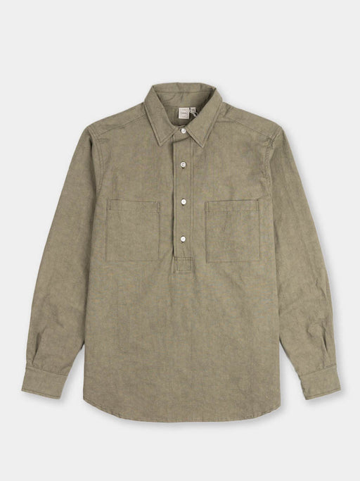 long sleeve popover shirt two, sage, paa