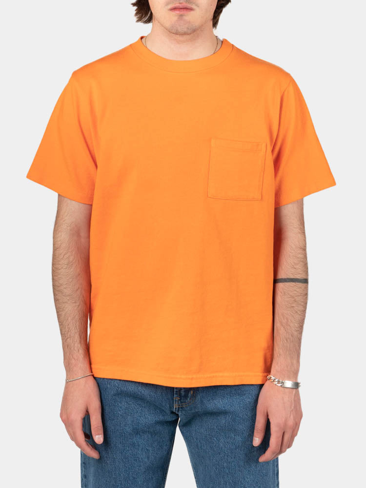 ss pocket tee, blaze orage, paa, on model front view