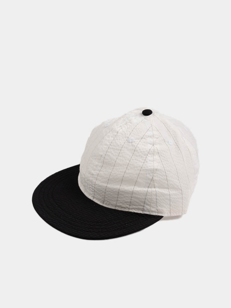 Stretch Floppy Ball Cap White/Black Pinstripe