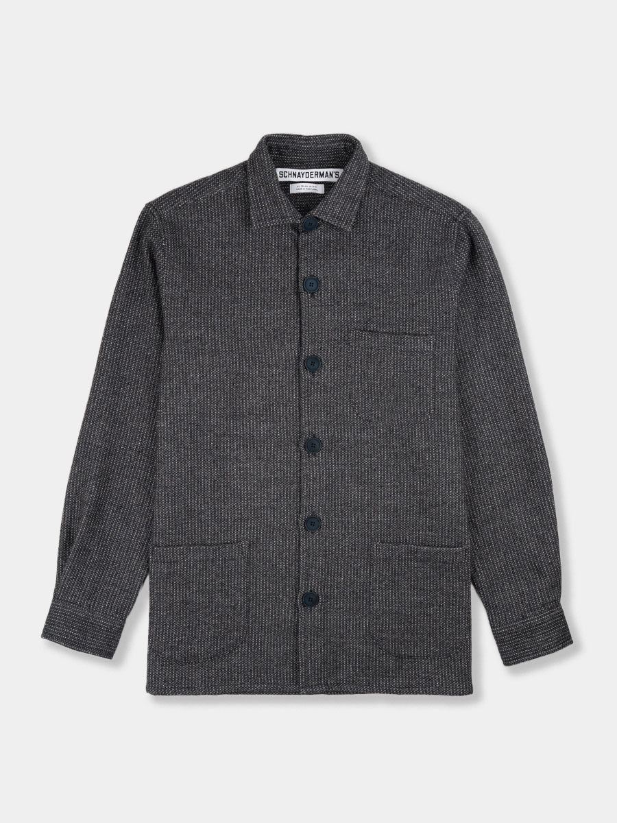 Overshirt Structure Melange Blue and Grey