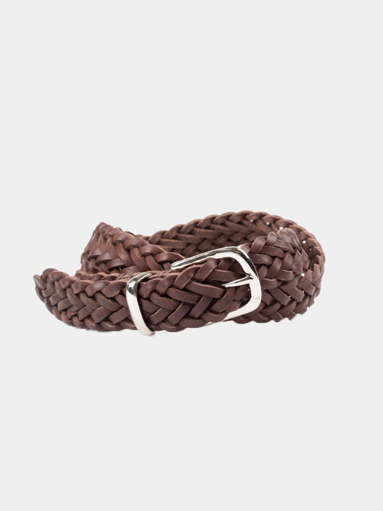 Braid Belt Leather Chocolate