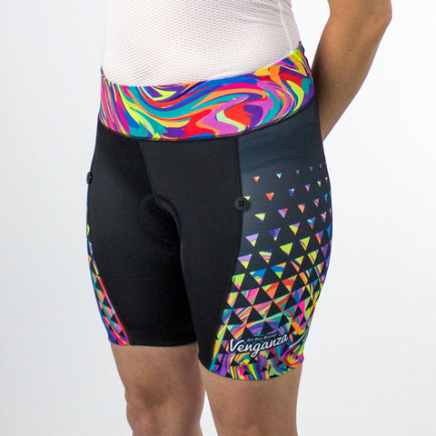 Venganza Cycling Short Neon Swirl Design