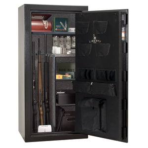 Liberty Safe-Centurion-24-Textured Black-Polished Chrome Top Lit Electronic Safe Lock-Open Door