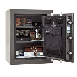 Liberty Safe-Home-17-Gray Marble-Black Chrome Electronic Safe Lock-Closed Door