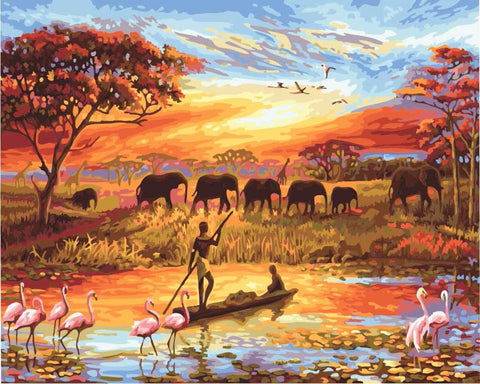 Elephant Sunset Diy Painting By Numbers Wall Art Canvas