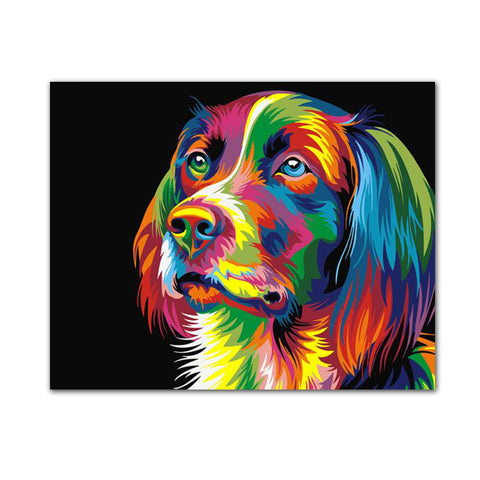 Cute Dog Diy Painting By Numbers Wall Art Canvas