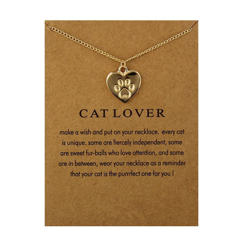 Cat Lover Heart Necklace & Pendant