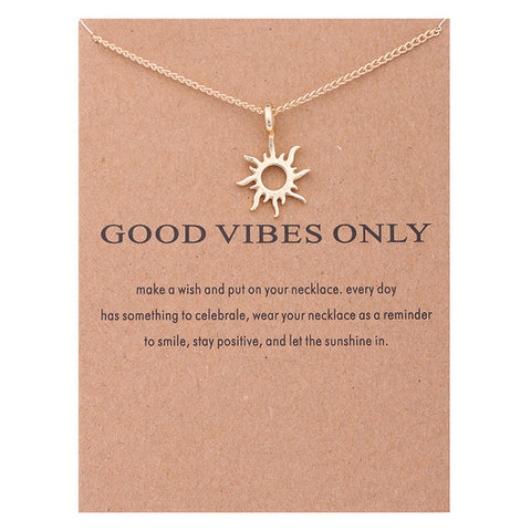 Good Vibes Only Sun Necklace & Pendant
