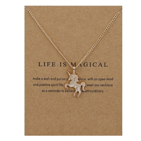 Life Is Magical Unicorn Horse Pendant & Necklace