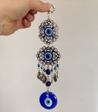 Blue Eye Glass Charm Wall Hanging