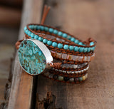 Leather Unique Mixed Natural Stones Bracelets