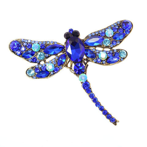 Crystal Vintage Dragonfly Brooch