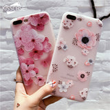 iPhoneGuards flower-patterned-iphone-case-covers Khaki For iPhone X For-Her Silicon iPhone-6 iPhone-6-Plus iPhone-7 iPhone-7-Plus iPhone-8 iPhone-8-Plus iPhone-X Cute Flower Pink