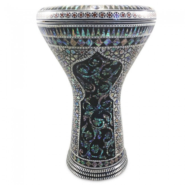 Gawharet El Fan 17'' Egyptian Black Widow With Blue Mother of Pearl  Darbuka Doumbek - Blemish