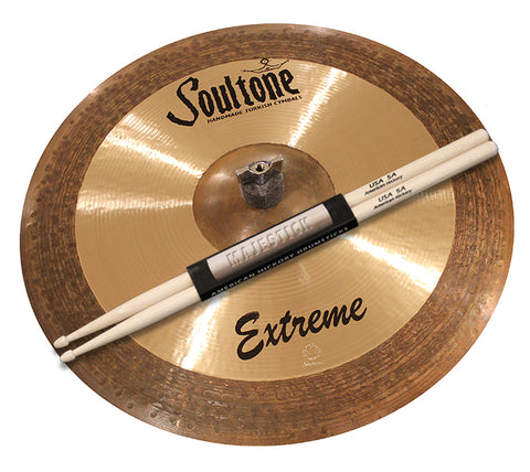 "Soultone Cymbals 16"" Extreme Crash / One pair of Majestick Drumsticks Bundle"