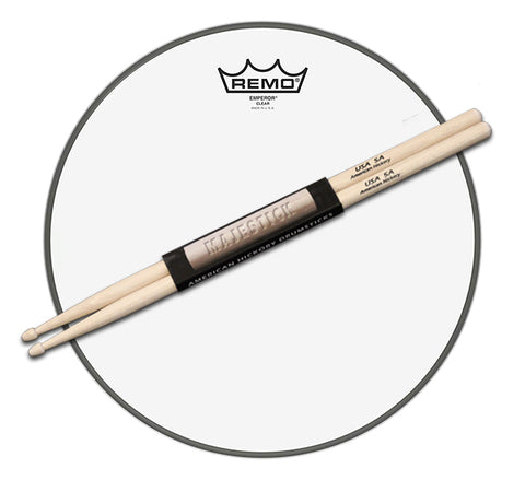 "14"" Remo Emperor Clear Drum Head / pair of Majestick Drumsticks Bundle"