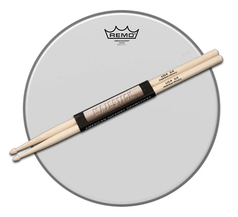"14"" Remo Coated Ambassador Drum Head / pair of Majestick Drumsticks Bundle"