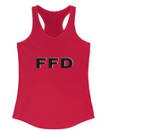 Image of FFD's women's racerback tank top with logo.