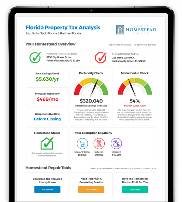 Homestead Check Property Tax Analysis Report Example