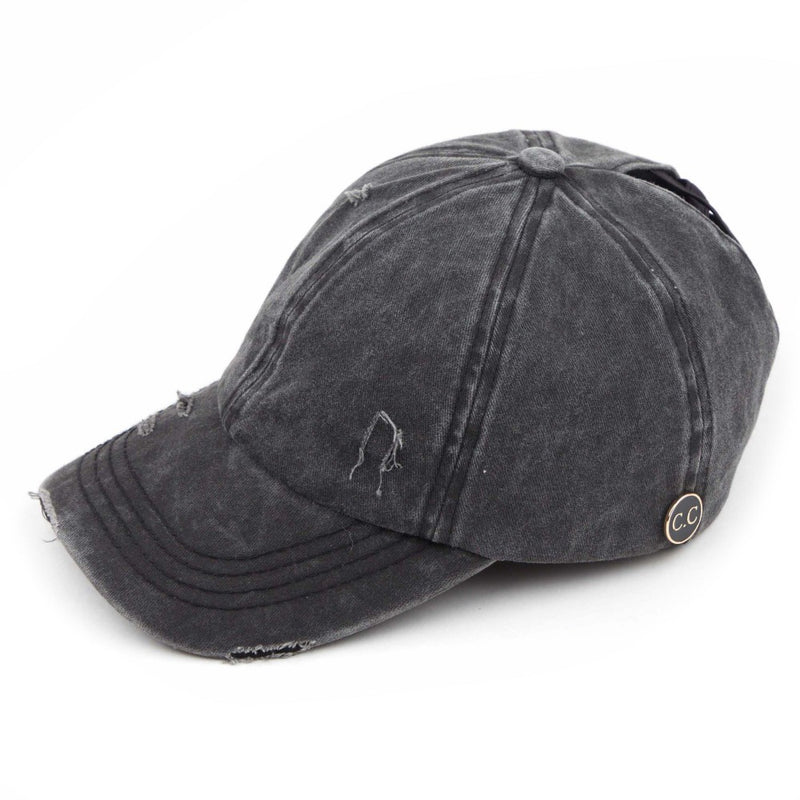 C.C. Brand Distressed Denim Ponytail Cap