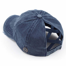 Load image into Gallery viewer, C.C. Brand Distressed Denim Ponytail Cap