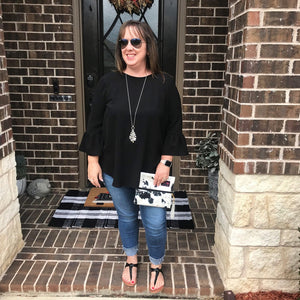 Back in Black Blouse-Stella's Shabby Boutique