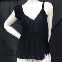 Load image into Gallery viewer, Black Ruffle Shoulder Tank Top-Stella's Shabby Boutique