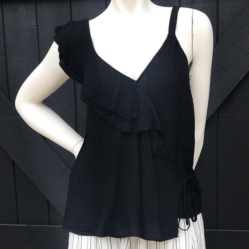 Black Ruffle Shoulder Tank Top-Stella's Shabby Boutique