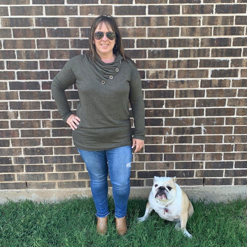 Brushed Olive Turtle Neck Tunic-Stella's Shabby Boutique