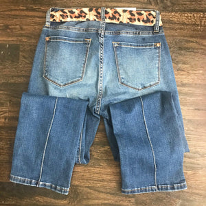 Judy Blue Leopard Sash Cropped Jeans-Stella's Shabby Boutique