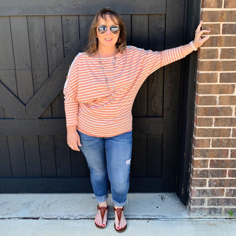 Just Peachy Dolman Top - Stella's Shabby Boutique